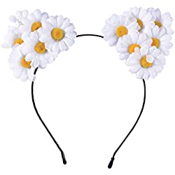 Lurrose Diadema con Orejas de gato de Margarita Diadema de Flores para Niñas Mujer Disfraz de Gato para Niñas para Fiesta (Blanco)