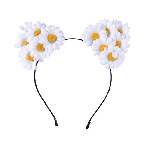 Kind Kostüm Sonnenblume - Lurrose Katzenohren Stirnbänder mit Sonnenblumen Haarbänder Haarschmuck für Kinder Katze Cosplay Party Kostüm Zubehör (Weiß)