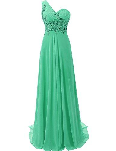 JAEDEN Donne Monospalla Chiffon Abiti da ballo Lungo Appliques Vestito da sera Verde