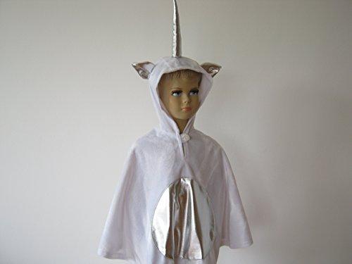 fasching karneval halloween kostüm cape für kleinkinder aus fellimitat einhorn weiß