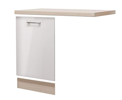 MMR Möbelumbau-Set DERRY - für vollintegrierbaren Geschirrspüler - mit Arbeitsplatte - Breite 110 cm - Perlmutt Weiß