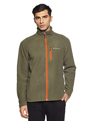 Columbia Fleecejacke für Herren, Fast Trek II Full Zip Fleece, Polyester, Grau (Graphite/Backcountry Orange), Gr. L, 1420421