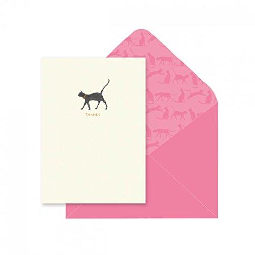 10 biglietti di ringraziamento con buste, Note Cards & da Portico Designs, motivo: gatto