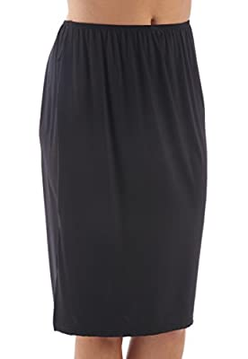 "2 Pack Womens/Ladies Underwear Underskirt Slip With Elasticated Waist & Elastane, 24"" Length, Various Colours & Sizes"