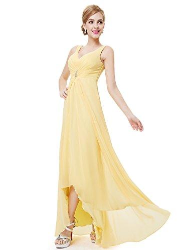 Ever Pretty Damen V-Ausschnitt Chiffon Lange Abendkleider 38 Gelb EP09983YL06