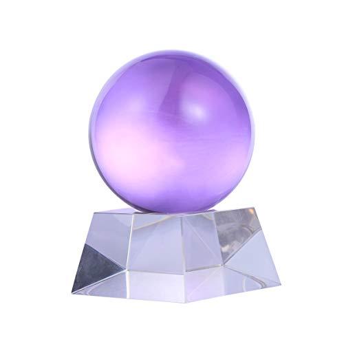 Preisvergleich Produktbild Healifty Healing Crystal Ball mit Ständer Feng Shui Amethyst Kristall Ornament für Home Office Dekoration (80mm)