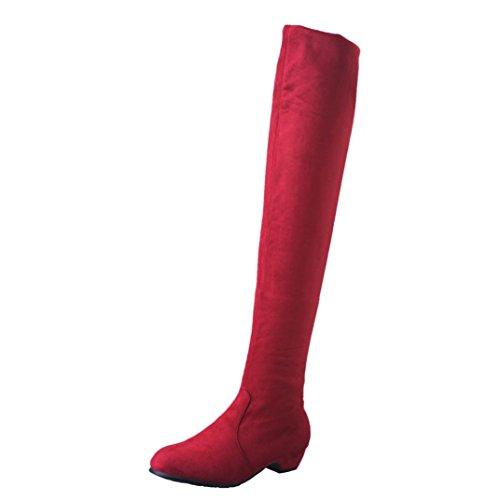 Damenschuhe,DOLDOA Dehnbar Langschaft Stiefel Niedriger Blockabsatz Stiefel (EU: 39, Rot - Länge: 50.5cm/19,88