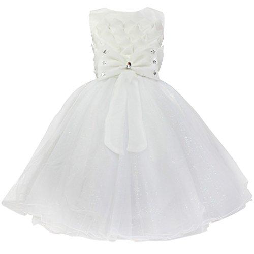 YiZYiF Baby Kleid Schleife Lotus Blumenmädchenkleid Gr. 74-116 Hochzeit Weihnachten Anzug Kleinkind Weiß 98-104 (Für Anzüge Kleinkinder Weiße)