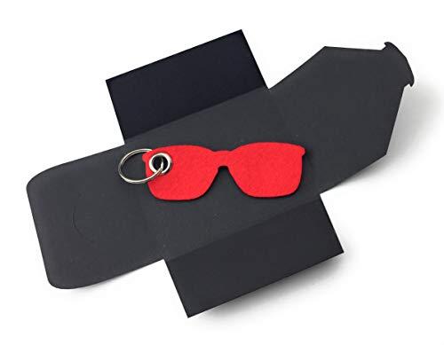 Schlüsselanhänger aus Filz - Sonnen-Brille/Urlaub - rot - als besonderes Geschenk mit Öse und Schlüsselring - Made-in-Germany