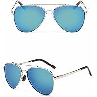 Unregelmäßige Achteckige Sonnenbrille Perle Nase Maske Farbe Linse Sonnenbrille Silber Eis Blau MzNiSMou