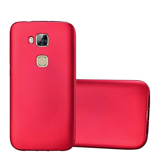Cadorabo Hülle für Huawei G7 Plus / G8 / GX8 - Hülle in METALLIC ROT – Handyhülle aus TPU Silikon im Matt Metallic Design - Silikonhülle Schutzhülle Ultra Slim Soft Back Cover Case Bumper