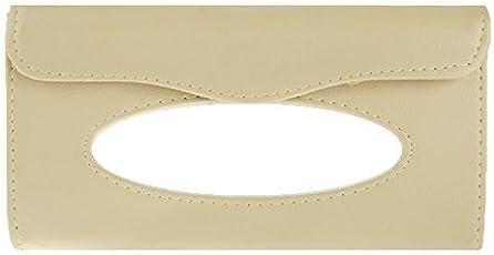 amiciKart Car Sun Visor Tissue Paper Box Case Auto Interior Decoration Accessories Holder Beige