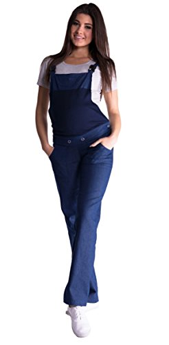 Mija - Denim Jeans Latzhose Umstandsjeans mit Bauchband 3018 (46, Dunkelblau Denim)