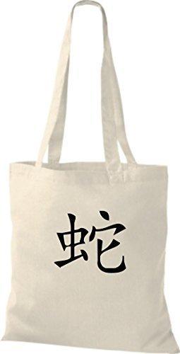 Schriftzeichen Schlange Beutel Baumwolltasche Chinesische natural Farbe Stoffbeutel ShirtInStyle diverse PqZ1RR4
