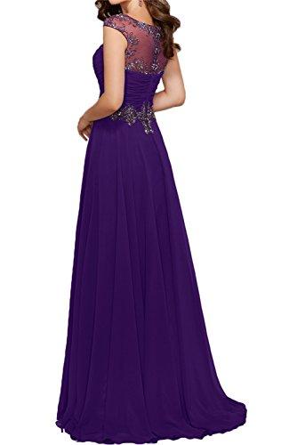 Gorgeous Bride Modisch Rundkragen A-Linie Chiffon Tuell Abendkleider Festkleider Ballkleider Lang Grape