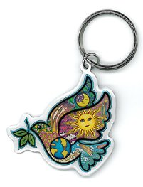 Peace Dove - Premium High Quality Porte-cls Keychain with Chrome Key Ring