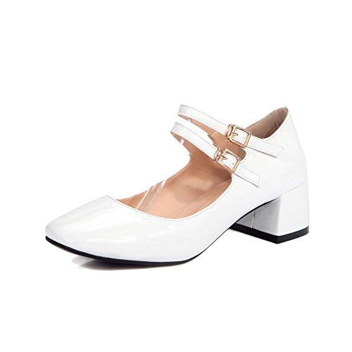 AllhqFashion Femme Carré Fermeture D'Orteil à Talon Correct Verni Couleur Unie Boucle Chaussures Légeres Blanc