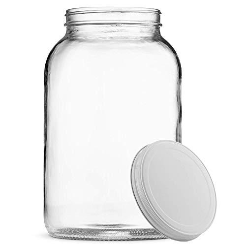 Paksh-Neuheit 3,8-Liter-Krug mit weitem Mund und luftdichtem Metalldeckel - USDA - BPA-freier, spülmaschinenfester Konservierungsbehälter für die Gärung, Kombucha, Kefir, Lagerung und Konservierung, Glass Candy Apothecary Jar