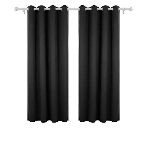 Deconovo Vorhang Verdunkelung Ösen Gardinen Schlafzimmer Ösenvorhang Blickdicht 175x140 cm Schwarz 2er Set