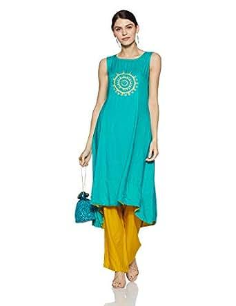 Rangmanch by Pantaloons Women's Straight Fit Kurta (110031495_Turquoise_Medium)