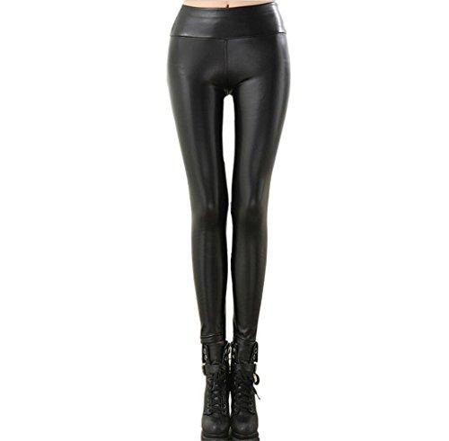 U-chen Damen PU Skinny Leggings Hüfthose Schwarz XS