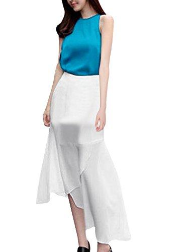 Débardeur sans manches à col rond avec dentelle et jupe en mousseline avec ceinture Bleu,Blanc