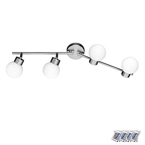 Decken Lampe Glas Wohn Zimmer Leuchte drehbar Dimmer Fernbedienung im Set inkl. RGB LED Leuchtmittel (Moderne Winkel-ess-set)