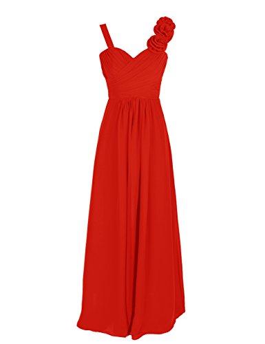 Dresstells, Robe de soirée/cérémonie/demoiselle d'honneur col en cœur bretelles classiques une ligne avec fleurs Rouge