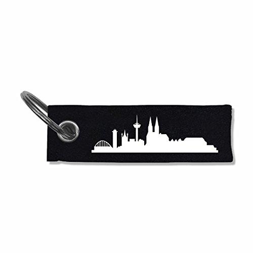 Filz Schlüsselanhänger Stadt Köln Skyline skyline4u 10x3cm schwarz/weiß