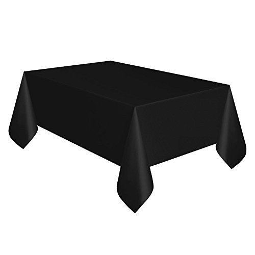 Rechteckige Tischdecke aus Kunststoff schwarz, 137 x 274 cm, Tischtuch, Casino Party Tischdecke abwaschbar Motiv Hollywood (Für Events Halloween Hollywood)