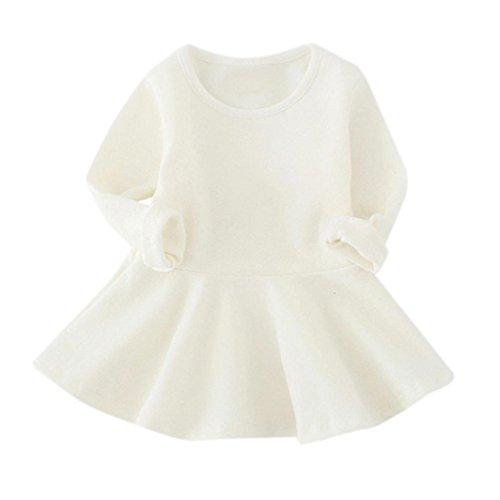 (Amlaiworld Baby Mädchen warm Langarmshirt Kleider bunt Niedlich Kleinkind Sport Freizeit kleidung1-4 Jahren (4 Jahren, Weiß))