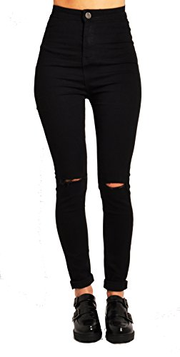 LILY LULU Apparel disco high waisted skinny jeans pants acid wash denim skinny jeans White Skinny Jeans (UK10, Black Ripped High Waisted)