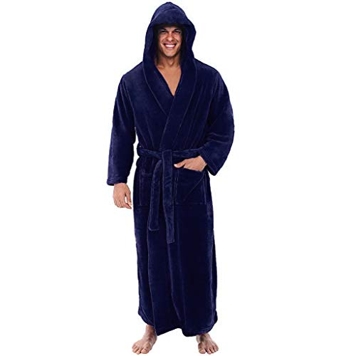 Aoogo Herren Bademantel Winter Verlängert Plüsch Schal Saunamantel Home Kleidung langärmelige Robe Mantel Nachtwäsche