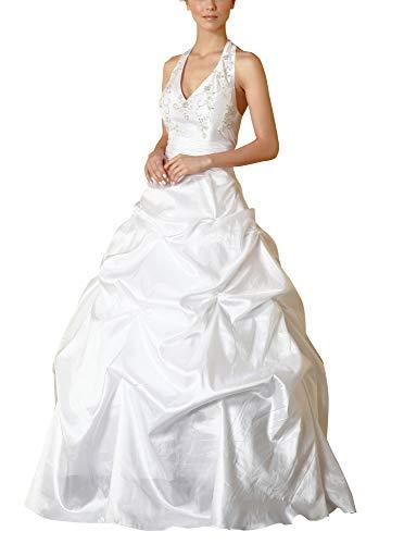 Romantic-Fashion Brautkleid Hochzeitskleid Weiß Modell W051 A-Linie Lang TAFT Neckholder Perlen...