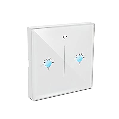 EU White Crystal Glass Panel APP Wireless Remote Control Smart Wi-Fi Touch Wall Light Switch 2 Gang - inexpensive UK light shop.