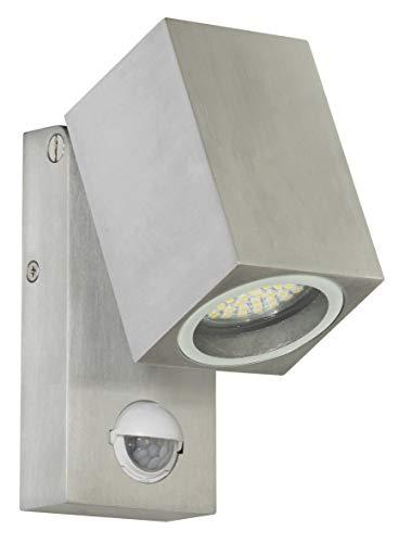 Ranex 5000.486 LED Wand Außenleuchte mit Bewegungsmelder / Aluminium-Glas / grau und quadratisch / bis ca. 90° ausklappbar