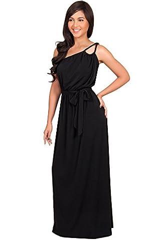 KOH KOH® Plus Size Damen Ein Schulter Langes Maxikleid Brautjungfern Cocktail Party Kleid, Farbe Schwarz, Größe XXL / 2X Large (Mutter Der Braut Formal Wear)