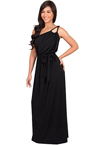 Damen Ein Schulter Langes Maxikleid Brautjungfern Cocktail Party Kleid, Farbe Schwarz, Größe XXL / 2X Large (3) (Women ' S Plus Size Halloween-kostüme-clearance)