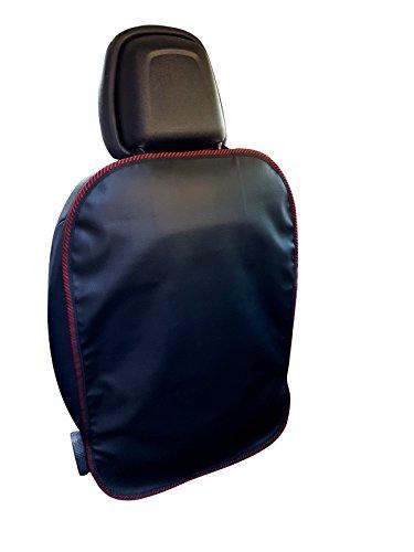 Rückenlehnenschutz Auto mit Umkettelung Rücksitzschoner Kunstleder 69 x 48 cm mit Gummizug Autositz Schutz auch für Elektrische Sitze geeignet Markenware Farbwahl (Rot Umkettelung)