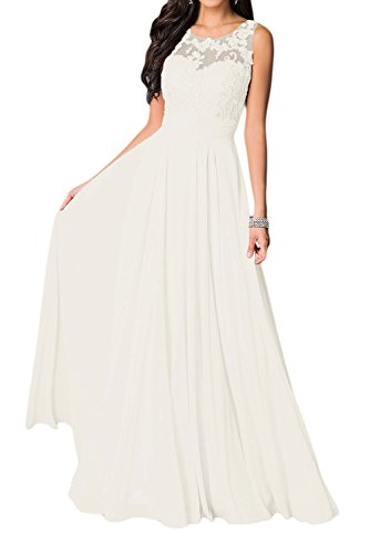 Missdressy Damen Elegant Chiffon Charmeuse Applikation Rundkragen Aermellos Lang Abendkleider...