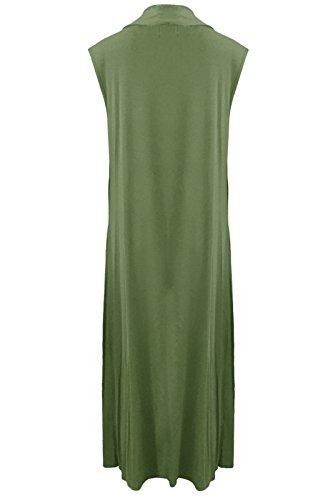 Janisramone Nouveau femme Gilet Long élégant Sans Manches, gilet polyvalent, long pull ouvert, Kaki
