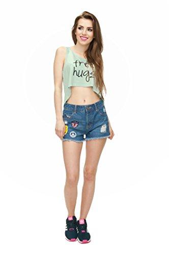Filles veste d'été pour femme Haut Teenage Party pour Femme Coussin sans manches pour homme fashion Multicolore - FREE HUGS