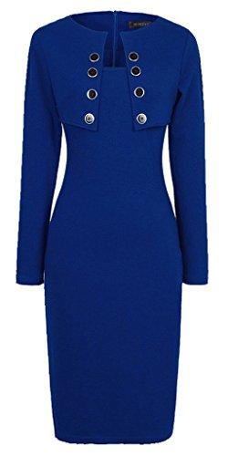 HOMEYEE - Robe - Moulante - Collier élégant Manches Longues - Femme B10 Bleu