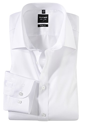 OLYMP Herrenhemd LEVEL FIVE, Body fit, Langarm, Größe 39, weiß