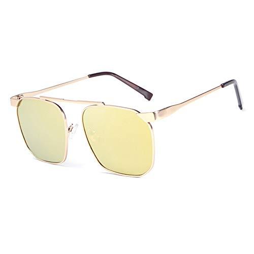 Easy Go Shopping Männer polarisiert Fahren Angeln Laufen Metallrahmen Sonnenbrillen 100% UV-Schutz Mode Sonnenbrillen Sonnenbrillen und Flacher Spiegel (Color : Gold, Size : Kostenlos)