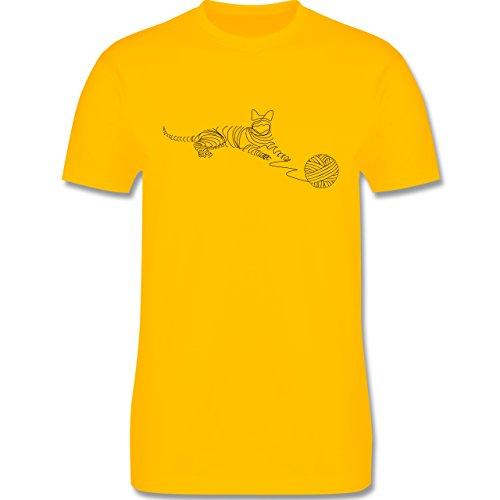 Katzen - I love cats - Herren Premium T-Shirt Gelb