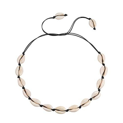 Muschelkette,Sommer Boho Schalen Halsketten Frauen Collier Natürlichen Meer Muschel Anhänger Seil-Kette Hals Schmuck Strand Mädchen Geschenk Zubehör