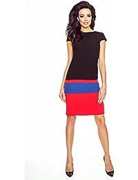 VictoriaV Damen Kleid Tricolorkleid Etuikleid Business Knielang Schwarz 1ddcd6f541