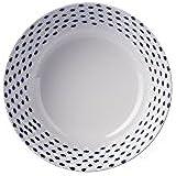 Blanco & francés azul marino diseño de lunares pequeños de profundidad cuenco–Mix & match gama–Atractivo, ligero pero resistente de melamina Picnic/barbacoa/buffet Ensalada de Fruta de comedor al aire libre/cereales/sopa/Pasta Bowl–Set de 4–14cm