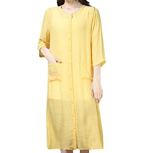 JKK Einfarbig Leinen Cardigan mit Tasche und knöpft Lange Sommer Shirts Sonnenschutz Lange Top Anti-UV Lange Bluse Kimono ()